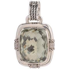David Yurman Prasiolite Diamond Sterling Silver Pendant