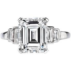 Emerald Cut GIA Certified 3.34 Carat Diamond Platinum Engagement Ring