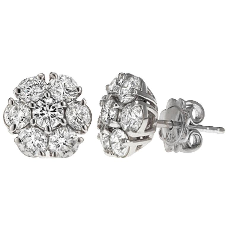 1.50 Carat Classic Diamond Cluster Earrings
