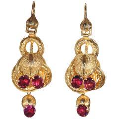 Victorian Etruscan Revival Garnet Yellow Gold Earrings