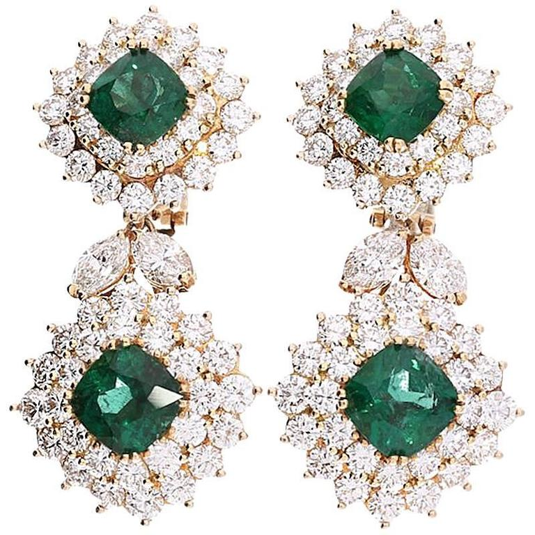 1970s Tiffany Co Emerald Diamond Earrings For