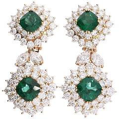 1970s Tiffany & Co. Emerald Diamond Earrings