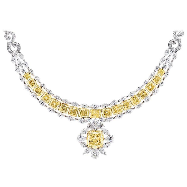 Exceptional 43.69 Carats GIA Certified Fancy Yellow Diamonds Necklace