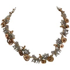 KT 2,57 Emerald Ruby,and KT 3,55 Diamond Rose Gold Choker Necklace