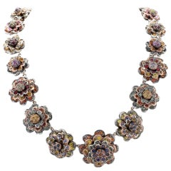 KT 77,22 sapphire multicolor Choker Gold and Silver  Necklace