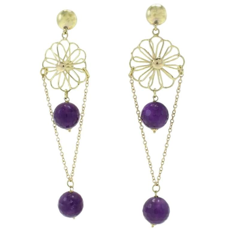 Luise Amethyst Yellow Gold Earrings