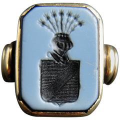 19th Century Nicolo Cameo Agate Signet Ring