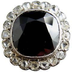 French Art Deco Sapphire Diamond Gold Platinum Ring circa 1925-1930