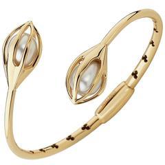 Mellerio Bourgeons de Lys Akoya Pearls Gold Bracelet