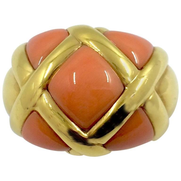 Coral Gold Ring For Sale