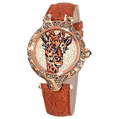 Wristwatch Gold White & Brown Diamonds Sapphires Alligator Strap Micromosaic