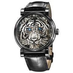 Automatic Wristwatch Stainless Steel Alligator Strap Decorated With Micromosaic