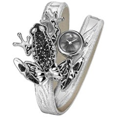 Stylish Wristwatch Silver White Diamonds Guilloche Dial Decorated Micromosaic