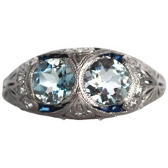 1920s Art Deco Aquamarine Sapphire Diamond Platinum Engagement Ring