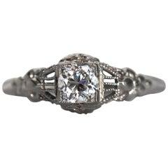 1940s Art Deco .28 Carat Old European Cut Diamond White Gold Engagement Ring