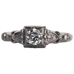 1940s Art Deco .32 Carat Old European Cut Diamond White Gold Engagement Ring