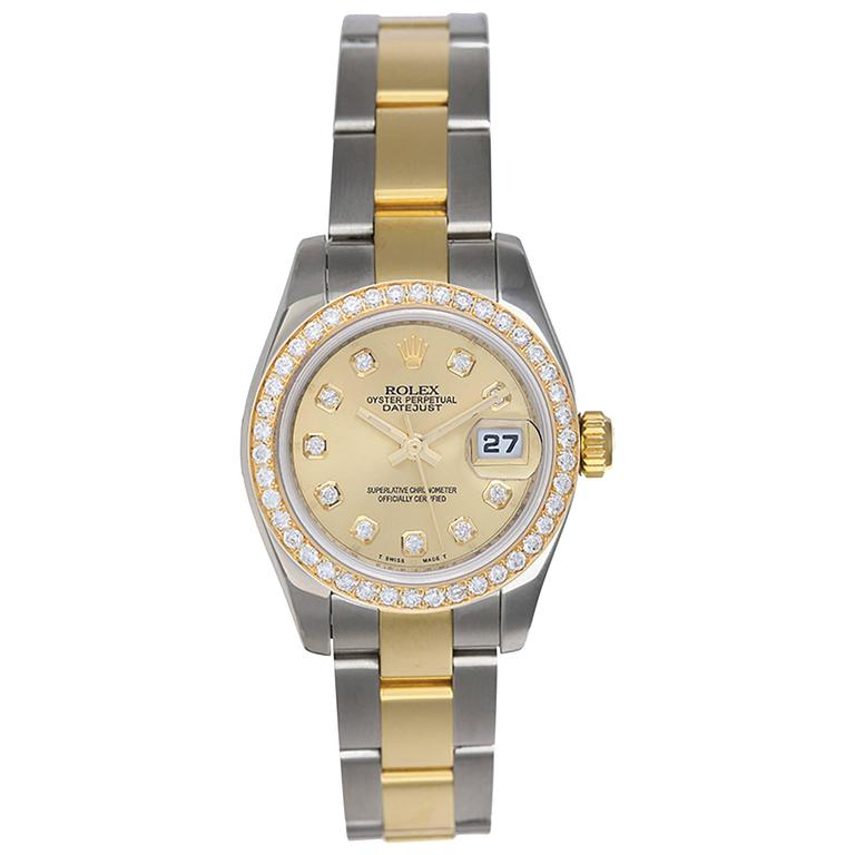 Rolex Ladies Yellow Gold Stainless Steel Datejust Yellow Wristwatch Ref 1791