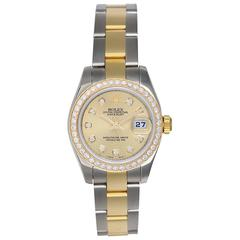 Rolex Ladies Yellow Gold Stainless Steel Datejust Yellow Wristwatch Ref 1791