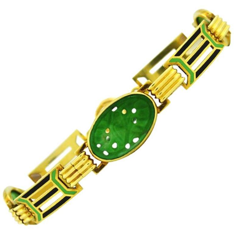 1920s Art Deco Enamel Carved Jade Gold Link Bracelet 1