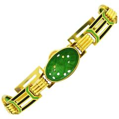 1920s Art Deco Enamel Carved Jade Gold Link Bracelet