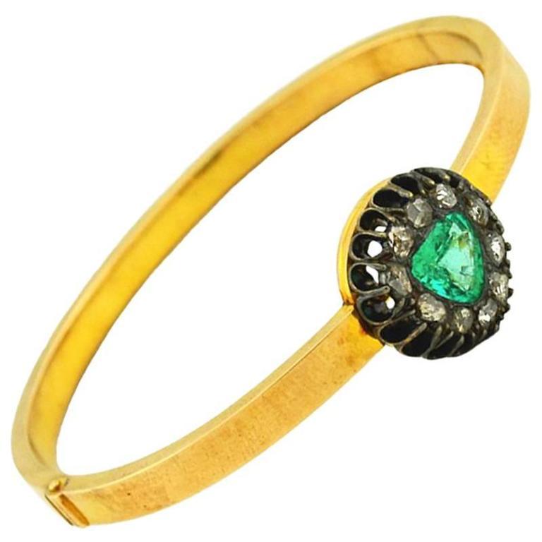 Victorian Emerald Diamond Gold Bangle Bracelet