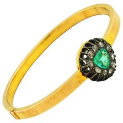 Victorian Emerald Diamond Gold Bangle Bracelet