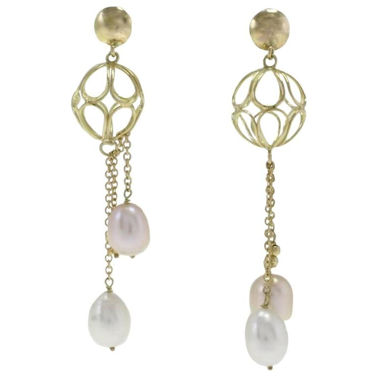 Yellow Gold Sphere Pearl Drop Earrings For Sale