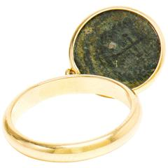 Dubini Emperor Flip Ancient Bronze Coin Yellow Gold Ring