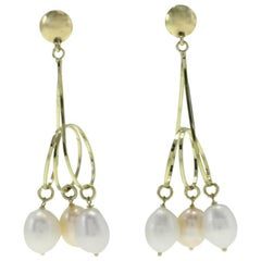 Luise Three Ring Yellow Gold Pearl Drop Earrings