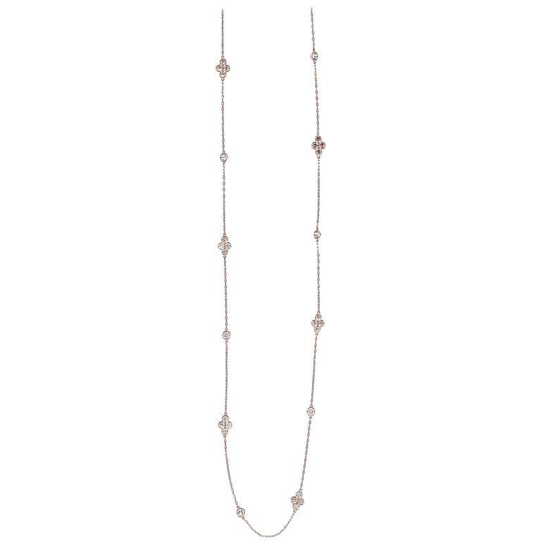 Art Deco Diamond White Gold Chain Necklace