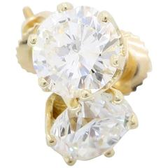 Classic 14 Karat Yellow Gold 2.30 Carat Diamond Studs