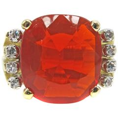 Gem Cushion Shape Fire Opal Diamond Gold Ring