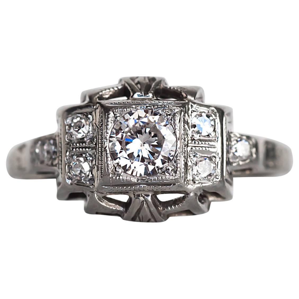 1930s Art Deco White Gold .24 Carat Diamond Engagement Ring