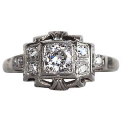 1930s Art Deco White Gold .24 Carat Diamond Engagement Ring
