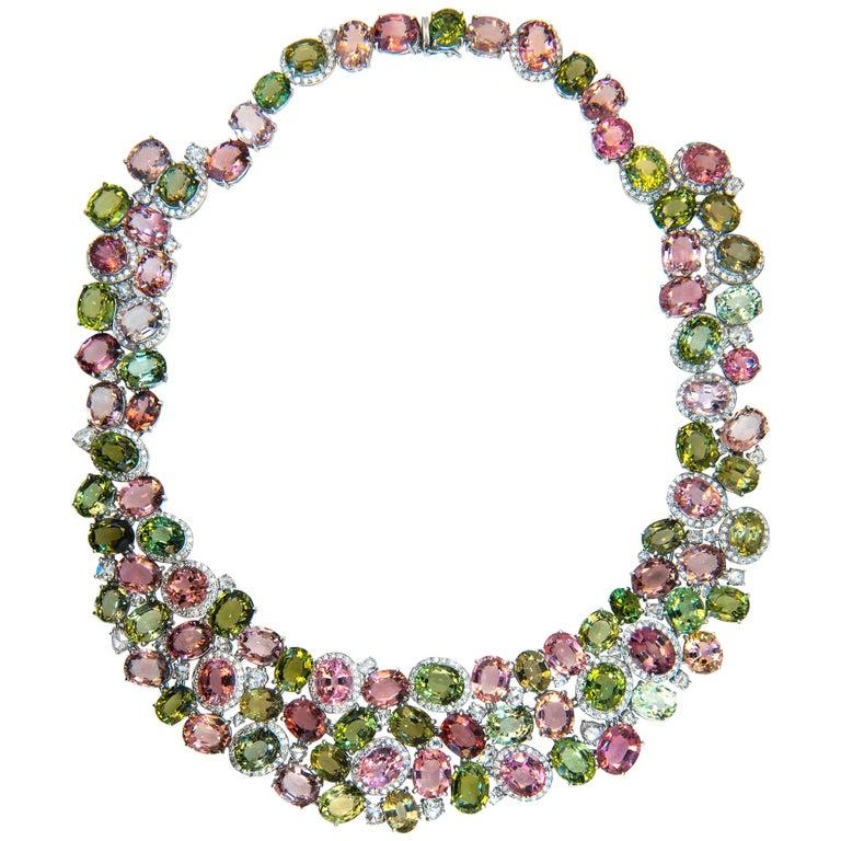 Laura Munder Pink Green Tourmaline Diamond Necklace For Sale