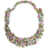 Laura Munder Pink Green Tourmaline Diamond Necklace