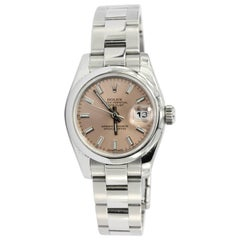 Rolex Ladies Stainless Steel Datejust Custom Pink Dial Automatic Wristwatch