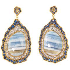 Striped African Opal Blue and White Sapphires Gold Statement Earrings