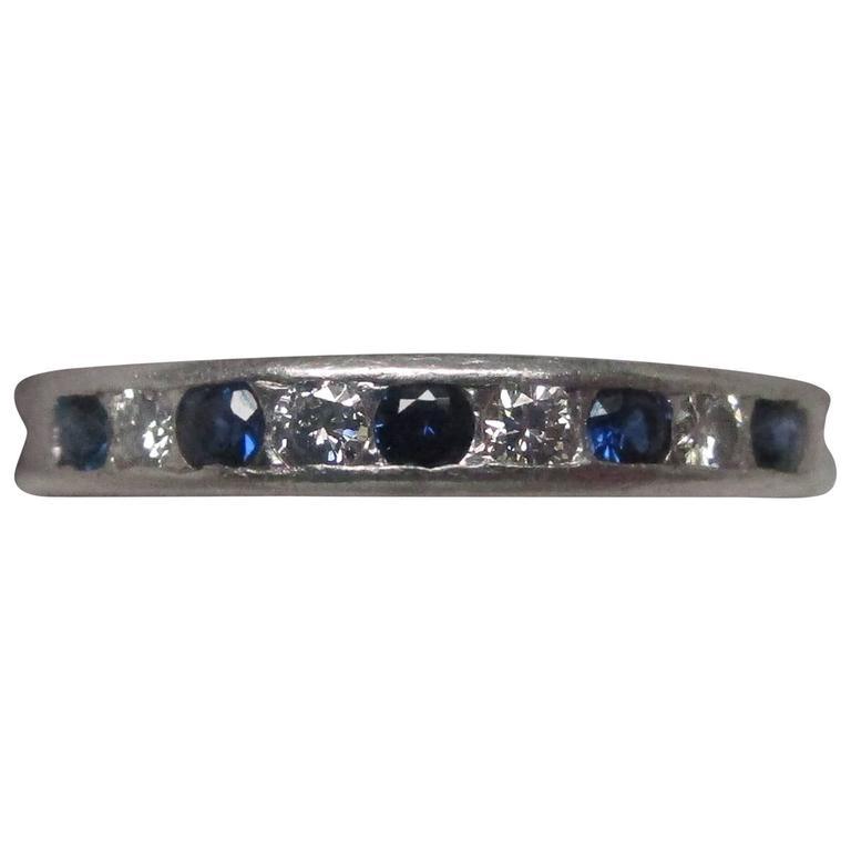 Tiffany & Co. Platinum Sapphire Diamond Band