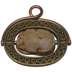 14 Karat Gold Etruscan Revival Scarab Fob