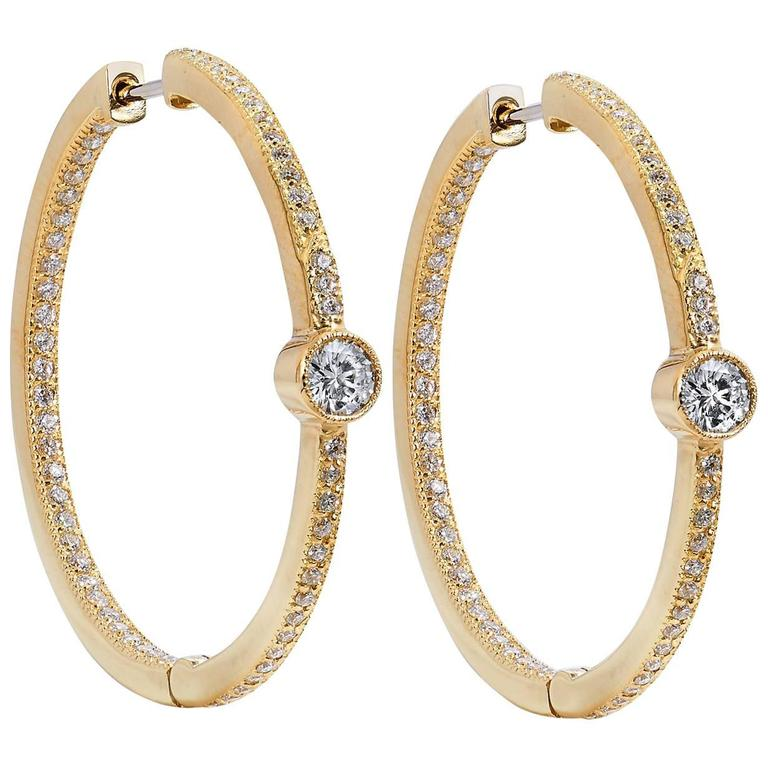 1 karat earrings 1 59 carat 18 karat yellow gold hoop earrings at 8598