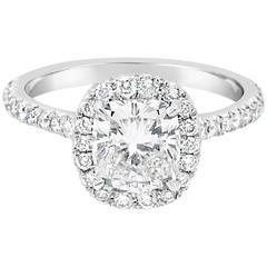 Ferrucci GIA Certified 1.30 Carat Cushion Diamond Platinum Ring