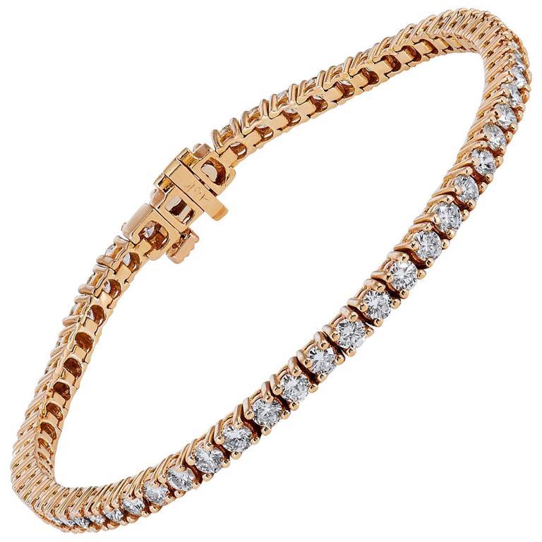 3 85 Carat Champagne Diamond 18 Karat Rose Gold Tennis Bracelet For