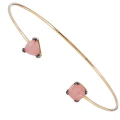 Suzanne Kalan Rose Quartz 14 Karat Yellow Gold Flexible Bracelet Bangle