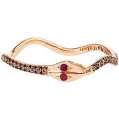 18 Karat Rose Gold and 0.12 Carat Champagne Diamond Snake Ring