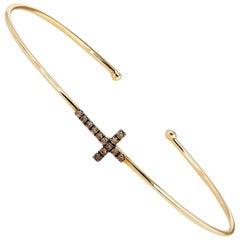 0.09 Carat Champagne Diamond Cross 14 Karat Yellow Gold Bracelet