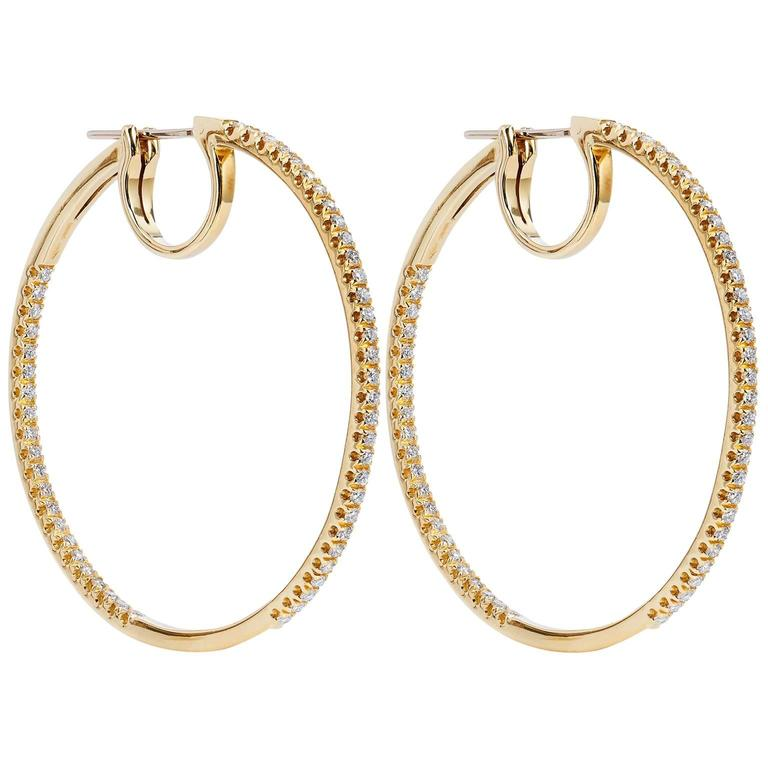 1 karat earrings 1 75 carat 18 karat yellow gold italian hoop 4004