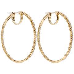 1.75 Carat Diamond 18 Karat Yellow Gold Italian Hoop Earrings