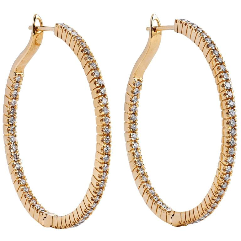 1 karat earrings 1 14 carat 18 karat yellow gold hoop 8774