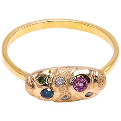 Pink Sapphire, Green Blue and White Diamond Ring in 14 Karat Yellow Gold